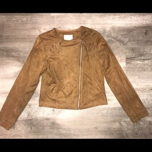 Justice Girls Faux Suede Tan Jacket, Size: 12/14